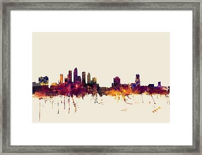 Tampa Florida Skyline Framed Print by Michael Tompsett