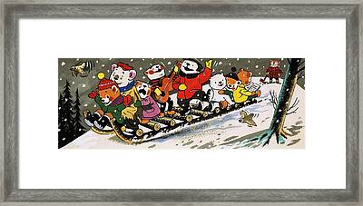 Teddy Bear Sleigh Ride Framed Print by William Francis Phillipps