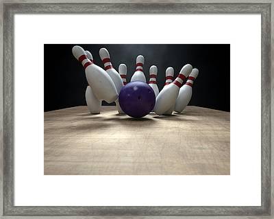 Ten Pin Bowling Pins And Ball Framed Print by Allan Swart