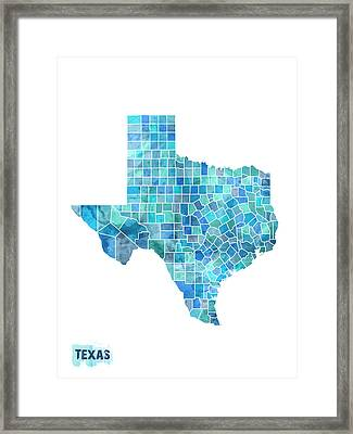 Texas Watercolor Map Framed Print by Michael Tompsett