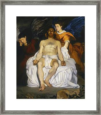 Framed Print featuring the painting The Dead Christ With Angels by Edouard Manet