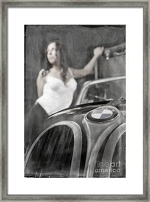 Framed Print featuring the photograph The Girl On The Background Of Vintage Car. by Andrey  Godyaykin