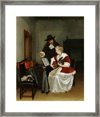 The Music Lesson Framed Print by Gerard ter Borch