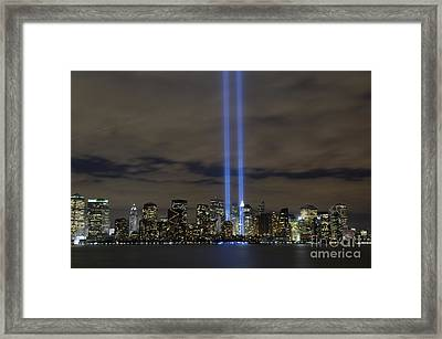 Framed Print featuring the photograph The Tribute In Light Memorial by Stocktrek Images