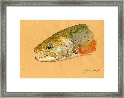 Trout Watercolor Painting Framed Print