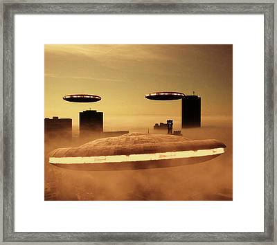 Ufo Invasion Force Framed Print by Raphael Terra
