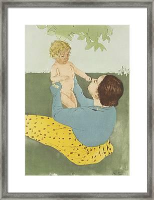 Under The Horse-chestnut Tree Framed Print by Mary Cassatt