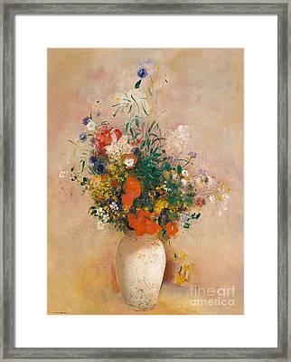 Vase Of Flowers, Pink Background Framed Print