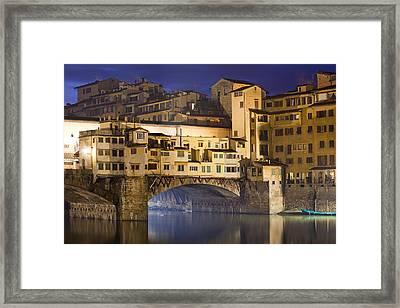 Vecchio Bridge At Night Framed Print by Andre Goncalves