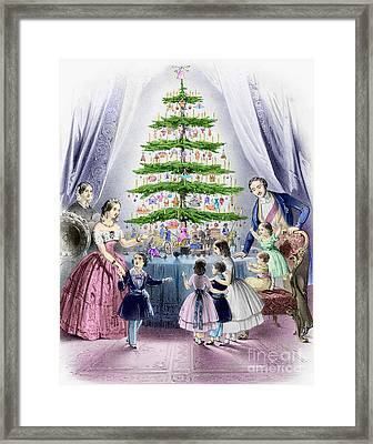 Vintage Christmas Card Framed Print by English School