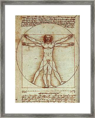 Vitruvian Man Framed Print by Leonardo In Digital