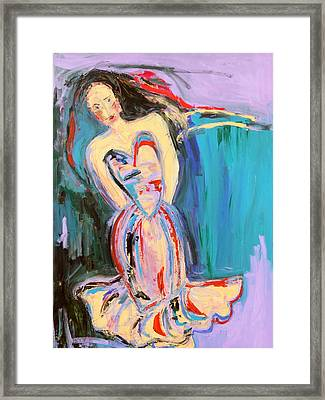 Waiting Lady Framed Print by Maggis Art