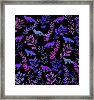 Watercolor Floral And Fox Framed Print by Amir Faysal