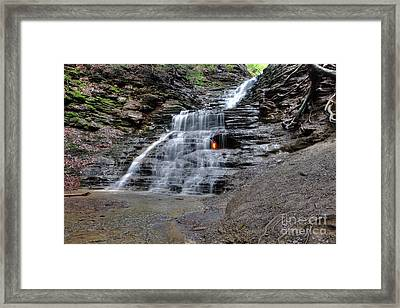 Waterfall And Natural Gas Framed Print by Ted Kinsman