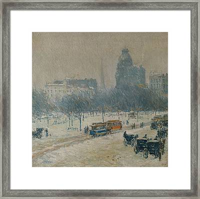 Winter In Union Square Framed Print