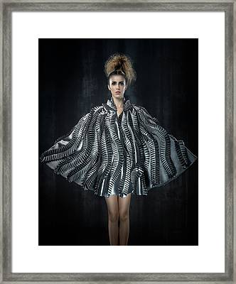 Woman In Messy Tease Updo In Black And White Stripes Framed Print