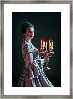 Woman In Victorian Dress Framed Print by Evgeniia Litovchenko
