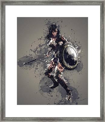 Wonder Woman Framed Print by Elena Kosvincheva