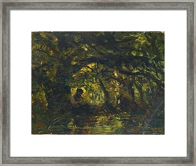 Woodland Scene With Pan Playing A Flute Framed Print