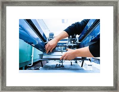 Worker Setting Print Screening Metal Machine Framed Print by Michal Bednarek