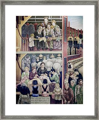 Wpa Mural. Society Freed Through Framed Print
