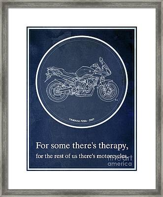 Yamaha Fz6b 2007 Art Print And Motorcycle Quote, Gift For Men Framed Print by Pablo Franchi