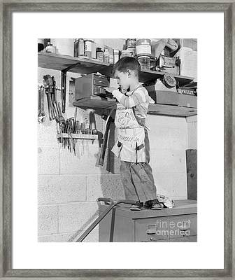 4 Year Old Boy In Tool Shed, C.1950s Framed Print
