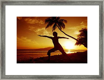 Yoga At Sunset Framed Print by Ron Dahlquist - Printscapes