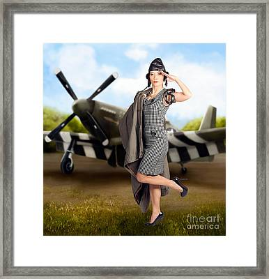 40s Military Pin Up Girl. Air Force Style Framed Print