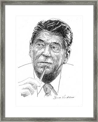 40th President Of The United States Of America, Ronald Reagan Framed Print by Shawn Vincelette