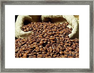 Framed Print featuring the photograph Espresso And Coffee Grain by Gualtiero Boffi