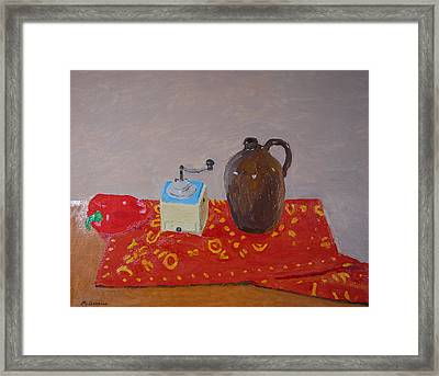 Still Life With Pepper Grinder And Jug Framed Print by Peter Devries
