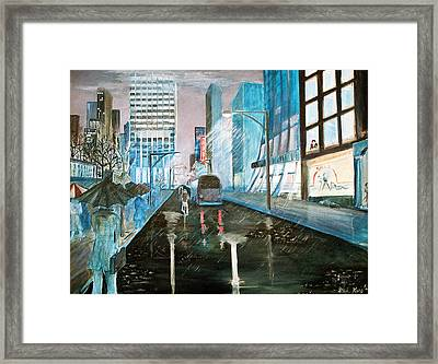 Framed Print featuring the painting 42nd Street Blue by Steve Karol