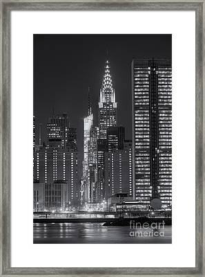 42nd Street Buildings At Twilight II Framed Print