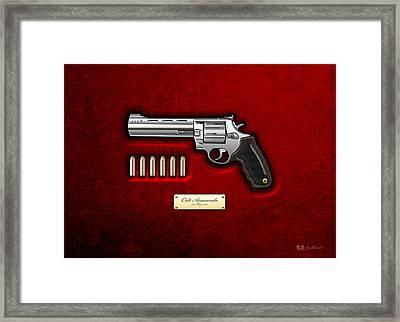 .44 Magnum Colt Anaconda On Red Velvet  Framed Print