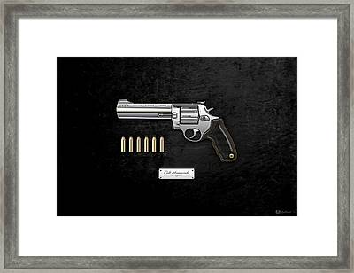 .44 Magnum Colt Anaconda With Ammo On Black Velvet  Framed Print