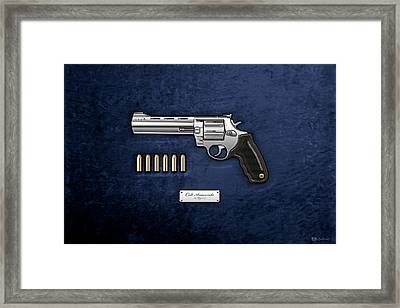 .44 Magnum Colt Anaconda With Ammo On Blue Velvet  Framed Print by Serge Averbukh