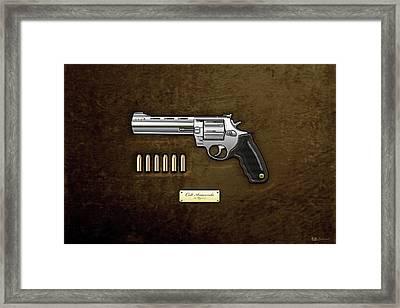 .44 Magnum Colt Anaconda With Ammo On Brown Velvet  Framed Print by Serge Averbukh
