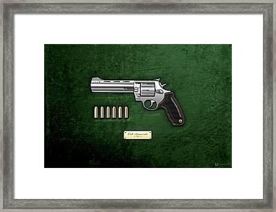 .44 Magnum Colt Anaconda With Ammo On Green Velvet  Framed Print by Serge Averbukh