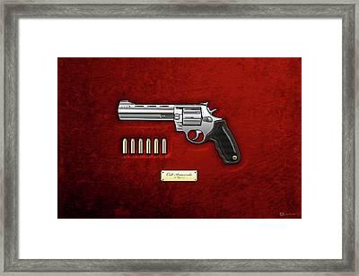 .44 Magnum Colt Anaconda With Ammo On Red Velvet  Framed Print by Serge Averbukh