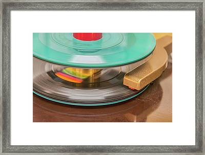 Framed Print featuring the photograph 45 Rpm Record In Play Mode by Gary Slawsky