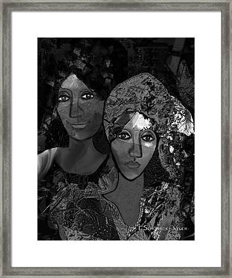 Framed Print featuring the digital art 452 - Secrets Of Friendship by Irmgard Schoendorf Welch