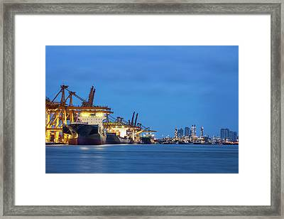 Container Cargo Freight Ship Framed Print by Anek Suwannaphoom