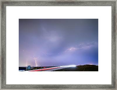 47 Street Lightning Storm Light Trails View Framed Print by James BO  Insogna