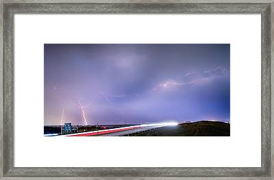 47 Street Lightning Storm Light Trails View Panorama 1 Framed Print by James BO  Insogna