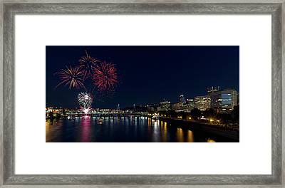 4th Of July Fireworks At Portland Waterfront 2016 Framed Print by David Gn