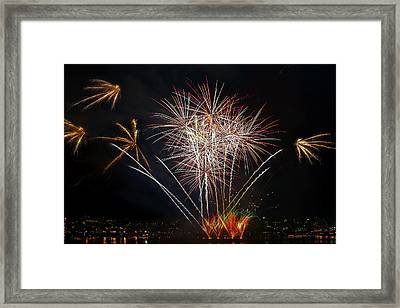 4th Of July Fireworks Display From The Barge Portland Oregon Framed Print by David Gn