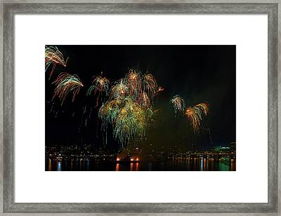 4th Of July Fireworks From The Barge Portland Oregon Framed Print by David Gn