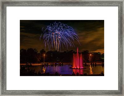 4th Of July Fireworks In Forest Park Framed Print by Garry McMichael