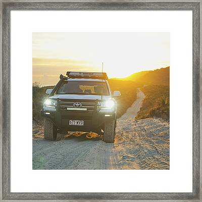 4wd Car Explores Sand Track In Early Morning Light Framed Print